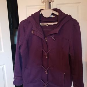 Rickis xxl coat Warm Purple Toggle button Hooded